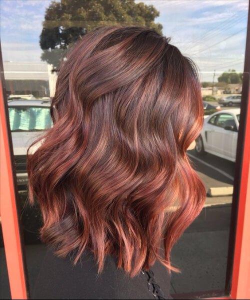 rojo pálido balayage el pelo corto