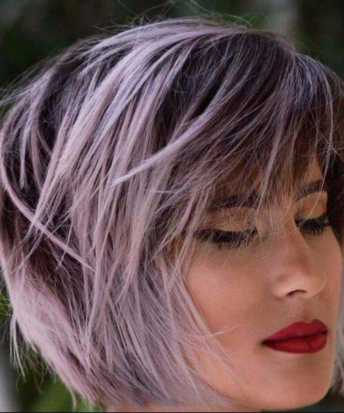 rosa balayage el pelo corto