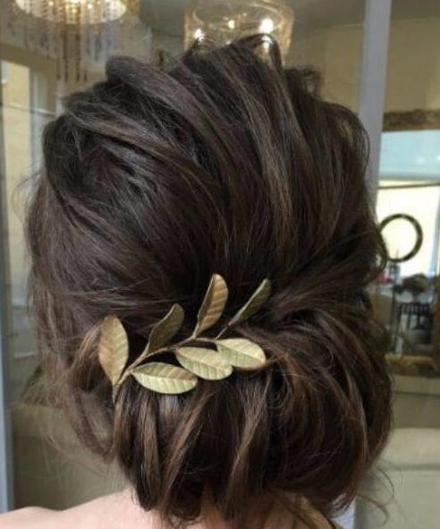 simple hoja de oro de peinados de boda para el pelo largo