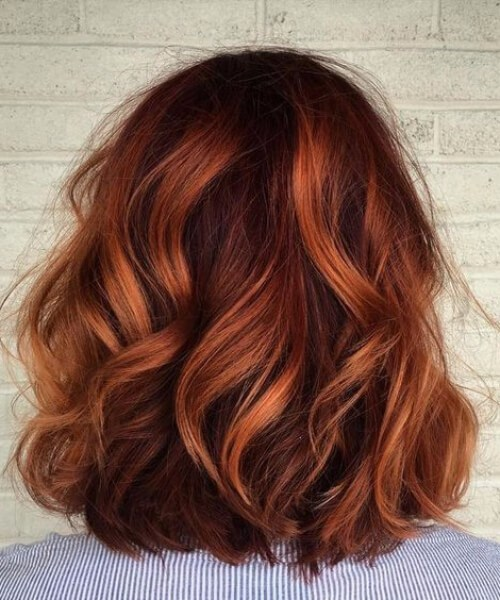 tigre rojo balayage el pelo corto