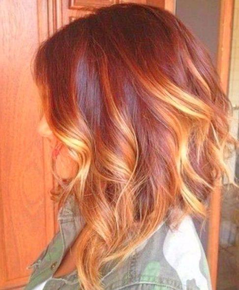 verano rojo balayage el pelo corto
