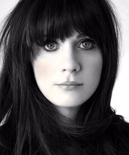 zooey deschannel el pelo largo con flequillo