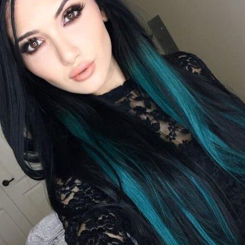 brunette-turquoise-peekaboo-highlights