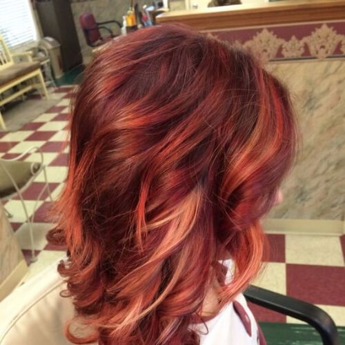 Red-Hair-Color-with-Blonde-copper-and-rose-gold-high-highlights-and-lowlights