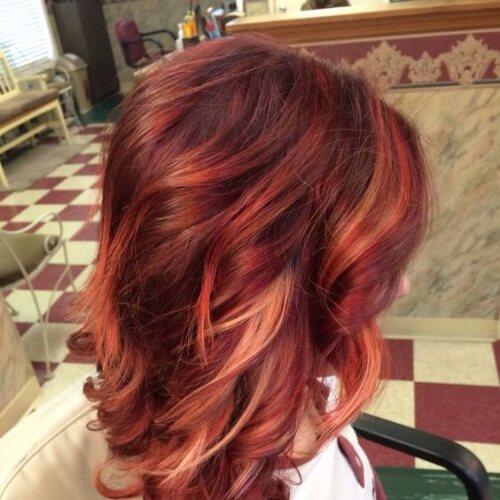 Rojo Color de Pelo con la Rubia, de cobre y de oro rosa de alta iluminaciones y sombras