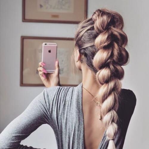 alta trenza peinados para el pelo largo