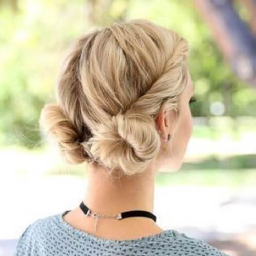 low-space-buns-blonde-hairstyles