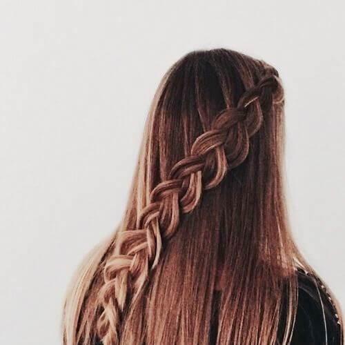 diagonal fishtail braid peinados para el pelo largo