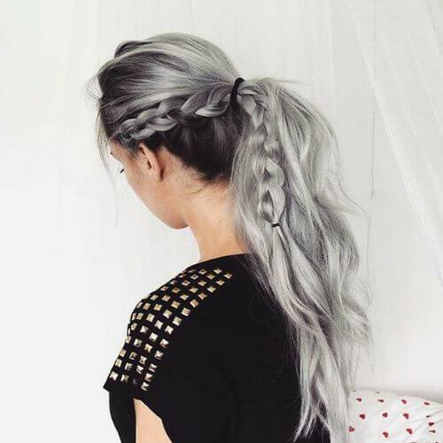 trenza gris peinados para el pelo largo