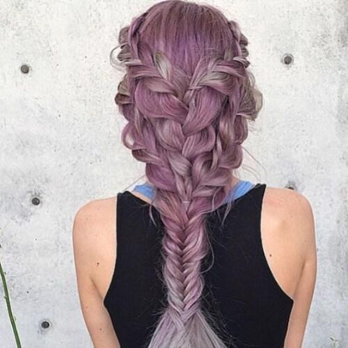 lavanda trenza peinados para el pelo largo