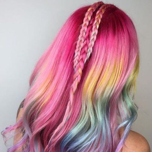 medio de colores de la trenza peinados para el pelo largo