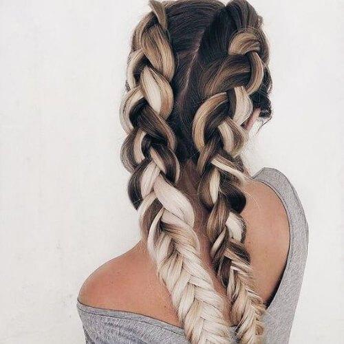 millk y café trenza peinados para el pelo largo