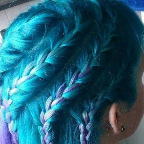 verde azulado, morado trenza peinados para el pelo largo