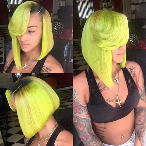 Peinados de bob verde lima para mujeres negras