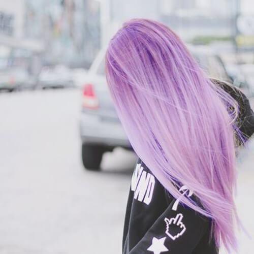 peinados púrpuras polvorientos para el pelo lacio
