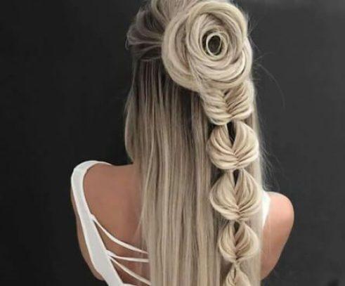 peinados trenza cola de pez rosa para cabello largo