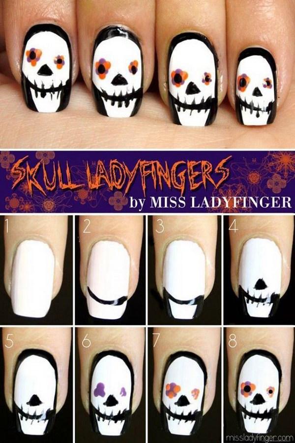 Scary Skull Nail Art.
