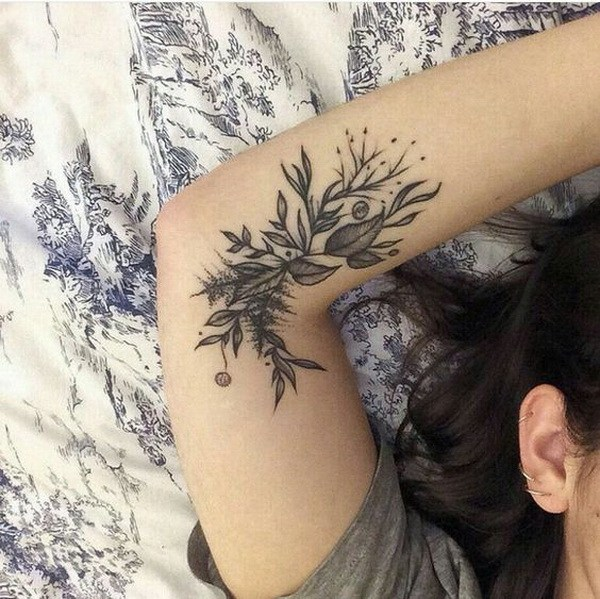Inner Arm Floral Tattoo.
