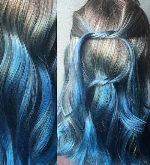 color plata y azul derretir ombre cabello azul