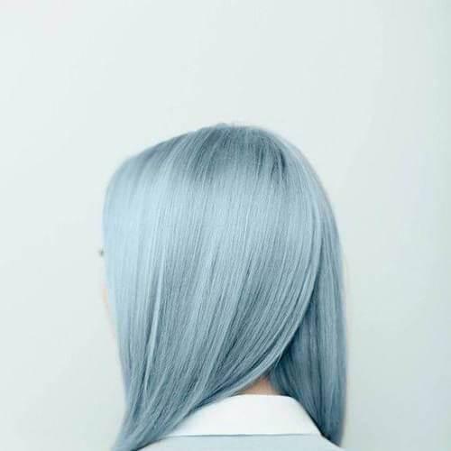 peinados azul plata para el pelo lacio
