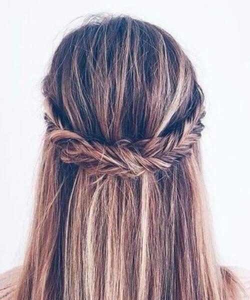 Fishtail Crown Braid Half Down Half Up Balayage Bouffant peinados para cabello fino