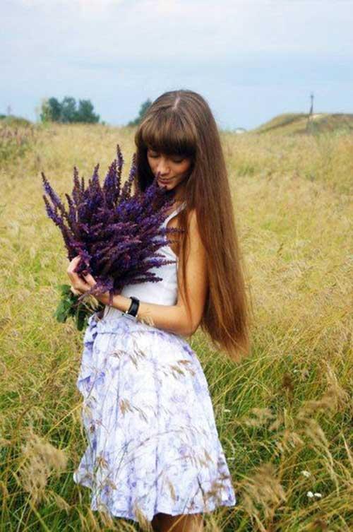 Flequillo en cabello largo-8