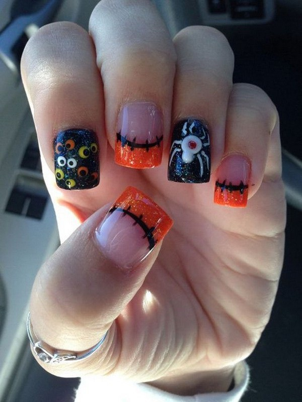 Halloween Gel Design Nails. Ideas de arte de uñas de Halloween.