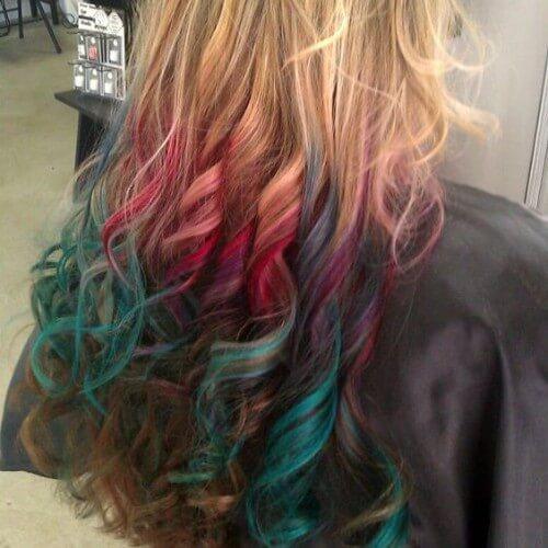 el arco iris termina cabello rubio sucio