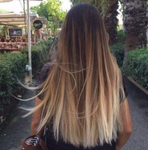 rubia sobre el color natural del pelo balayage