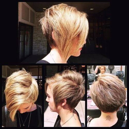 corte de pelo duende superado con reflejos rubios en cabello castaño