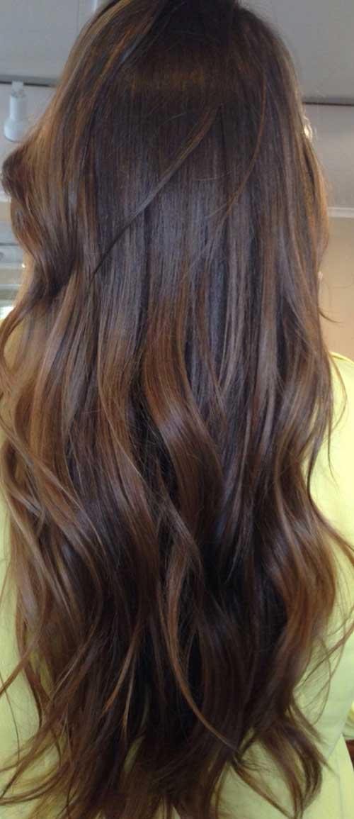 Peinados de color marrón oscuro largo-22