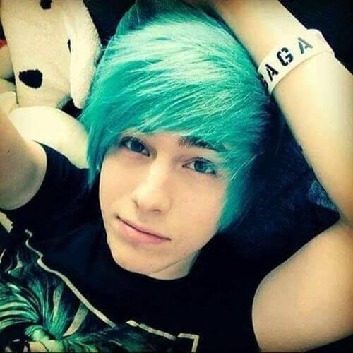 cabello azul para chicos