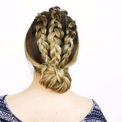 cabello largo trenzado updos
