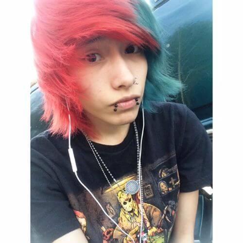 peinados emo rojos y verdes para chicos