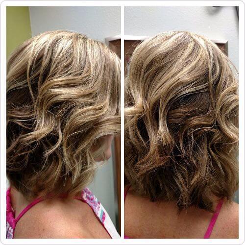 reflejos rubios en cabello castaño medio
