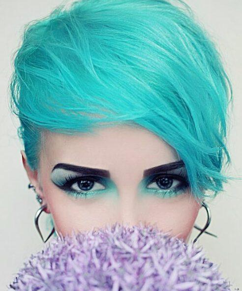 color de pelo verde azulado laguna