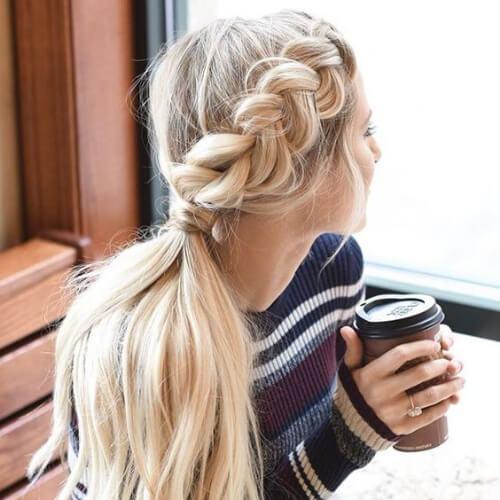 peinados laterales trenza francesa para el pelo largo