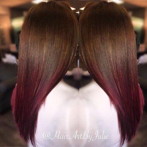 ombre burdeos en el pelo de chocolate
