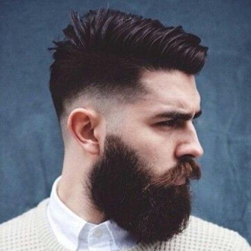 Peinado recortado con barba