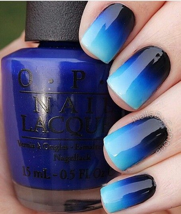 Royal Blue a Black Ombre Nails.