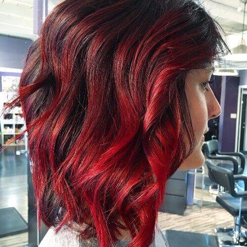 Pelo negro y rojo Ombre