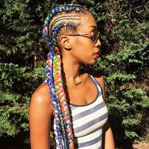 trenzas de ghana multicolor