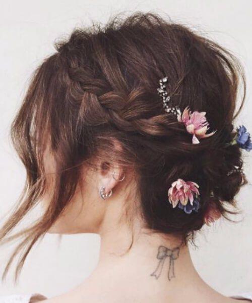 updos para flores de pelo corto