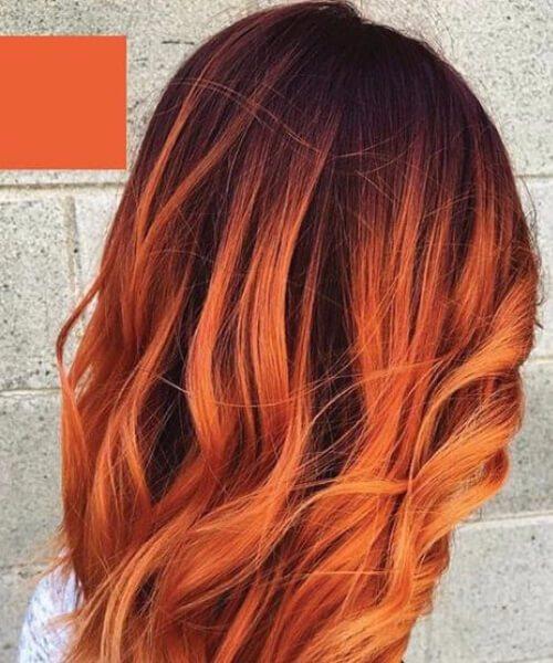 crepúsculo naranja rojo balayage pelo corto