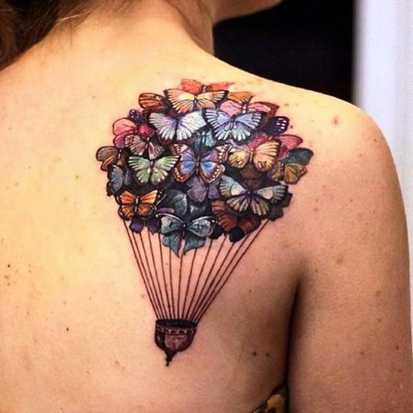Diseño del tatuaje de Butterfly Baloon en hombro trasero.