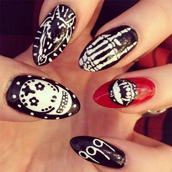 Almond Halloween Nail art. Ideas de arte de uñas de Halloween.
