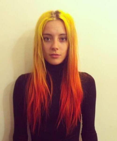 neón amarillo, naranja y rojo ombre pelo