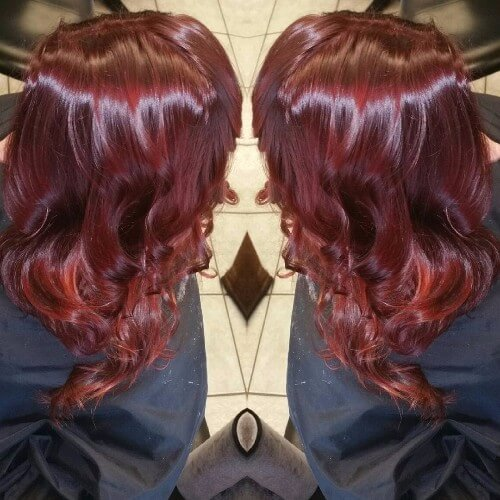cabello cereza burdeos