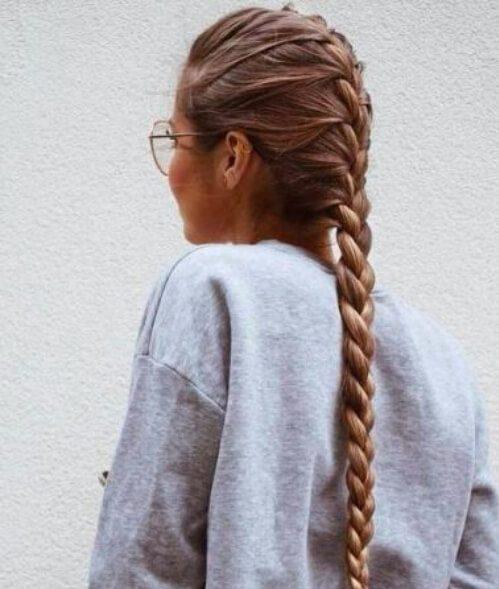 peinados extra largos de trenza francesa