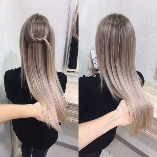 Straight And Sleek Ash Blonde Ombre peinados rubios